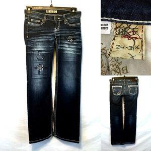 BKE Stella Boot Distressed Embellished Jeans 24x31